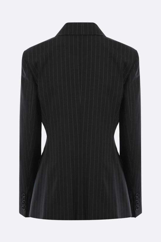 MAX MARA: Spoleto pinstriped double-breasted wool canvas jacket Color Black_2