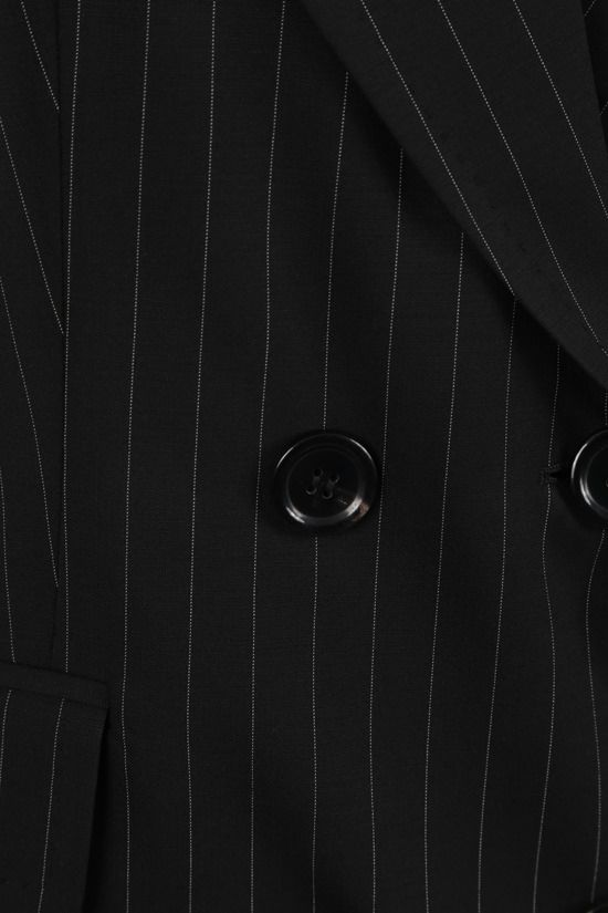 MAX MARA: Spoleto pinstriped double-breasted wool canvas jacket Color Black_3