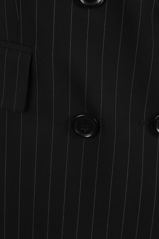 MAX MARA: Spoleto pinstriped double-breasted wool canvas jacket Color Black_4