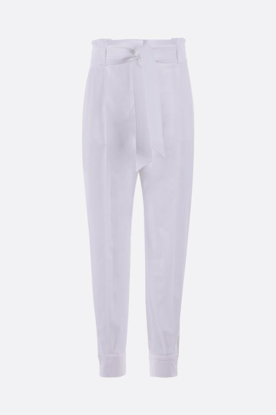 MAX MARA: Eburnea stretch cotton pants with Color White_1