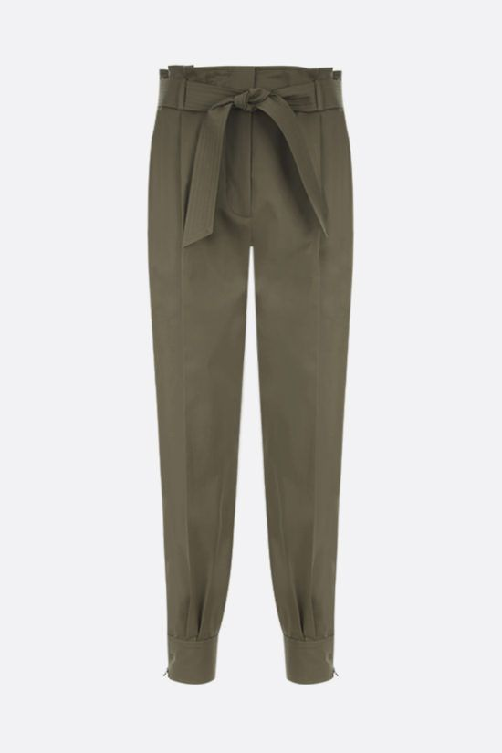 MAX MARA: Eburnea stretch cotton pants with Color Green_1