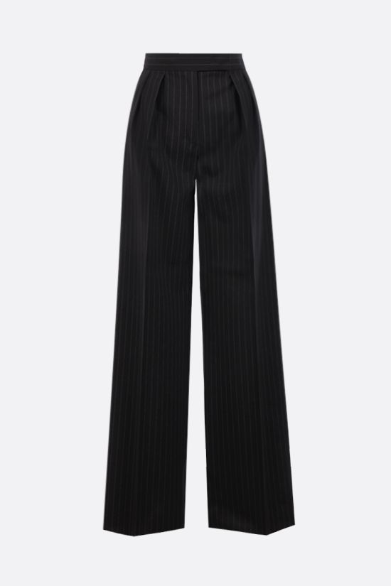 MAX MARA: Orsola pinstriped wool canvas wide-leg pants Color Black_1