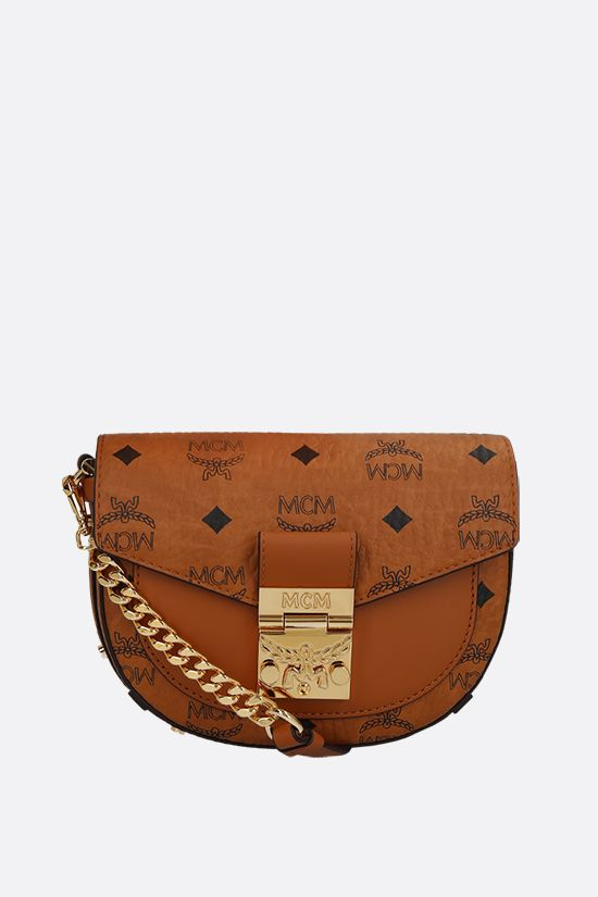 MCM: Patricia mini coated canvas crossbody bag Color Brown_1