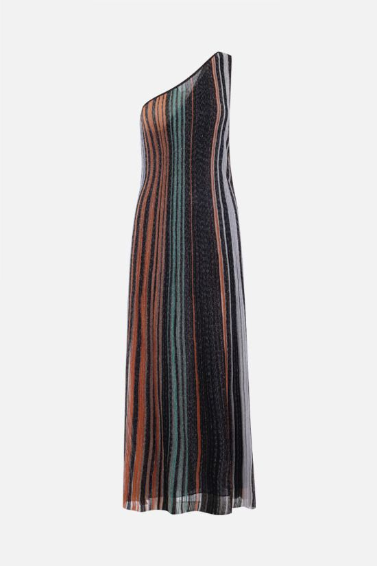 MISSONI: striped lightweight knit one-shoulder dress Color Multicolor_1