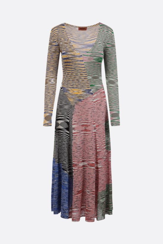 MISSONI: ribbed knit patchwork midi dress Color Multicolor_1