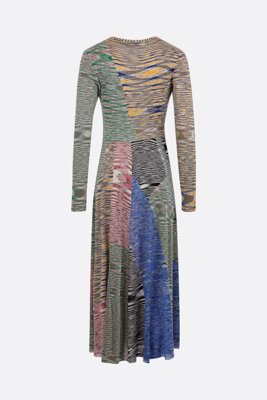 MISSONI: ribbed knit patchwork midi dress Color Multicolor_2