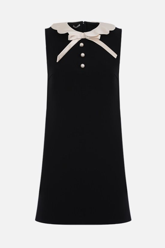MIU MIU: bow-detailed cady sleeveless minidress Color Black_1