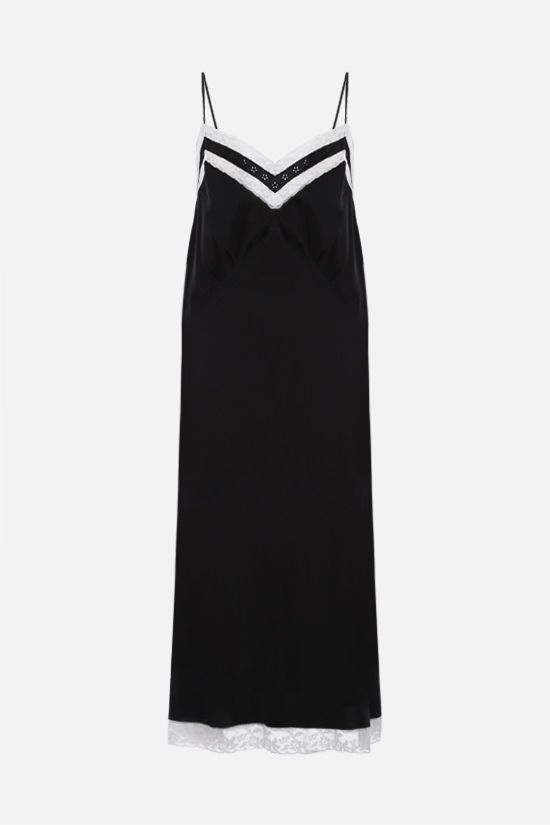 MIU MIU: lace trim-detailed silk slip dress Color Black_1