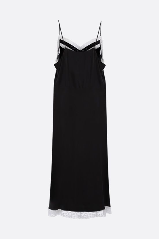 MIU MIU: lace trim-detailed silk slip dress Color Black_2