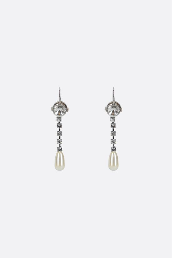 MIU MIU: crystal and pearl-embellished brass pendant earrings Color Neutral_1
