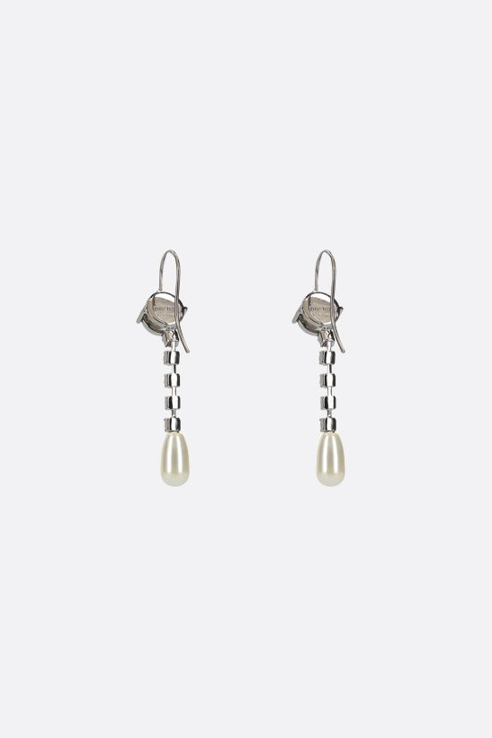 MIU MIU: crystal and pearl-embellished brass pendant earrings Color Neutral_2