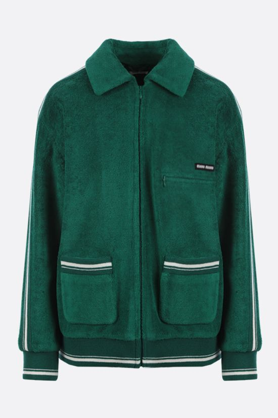MIU MIU: intarsia terry jersey bomber jacket Color Green_1