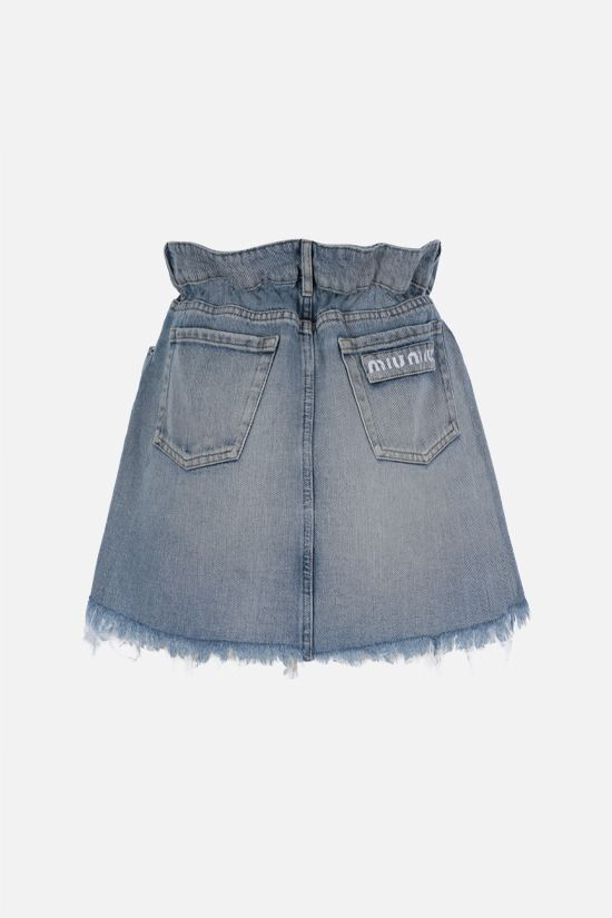 MIU MIU: logo print denim miniskirt Color Blue_2