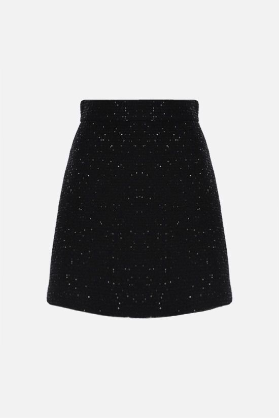 MIU MIU: sequinned tweed A-line miniskirt Color Black_1