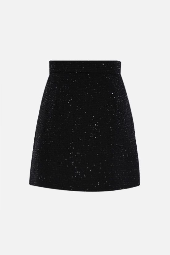 MIU MIU: sequinned tweed A-line miniskirt Color Black_2