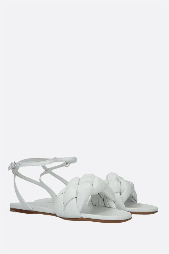MIU MIU: soft nappa flat sandals Color White_2