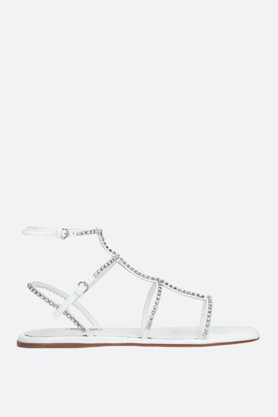 MIU MIU: crystal-embellished patent leather flat sandals Color White_1