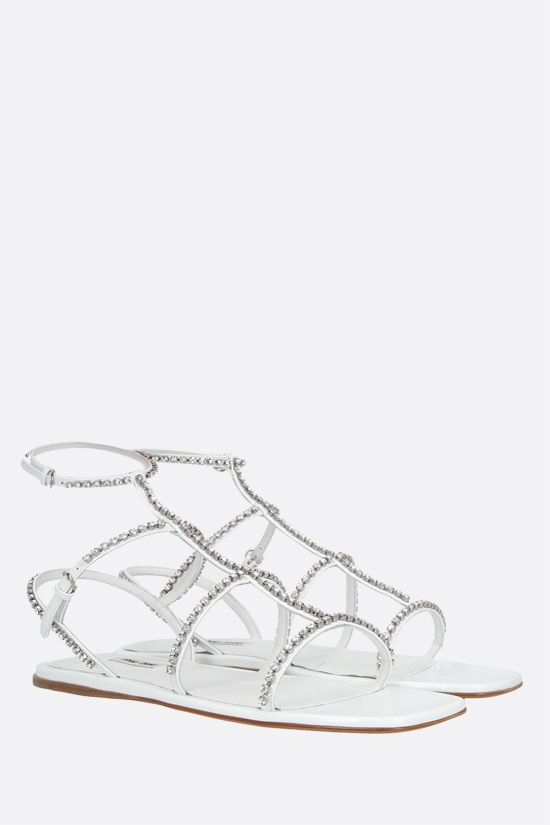 MIU MIU: crystal-embellished patent leather flat sandals Color White_2
