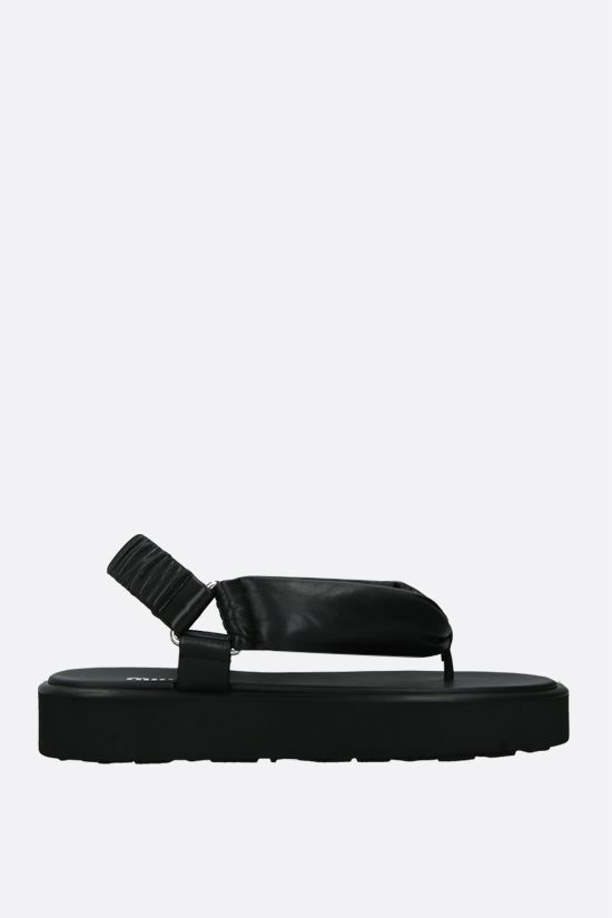 MIU MIU: soft nappa thong sandals Color Black_1