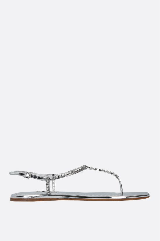 MIU MIU: crystal-embellished thong sandals in Metal Tech fabric Color Silver_1