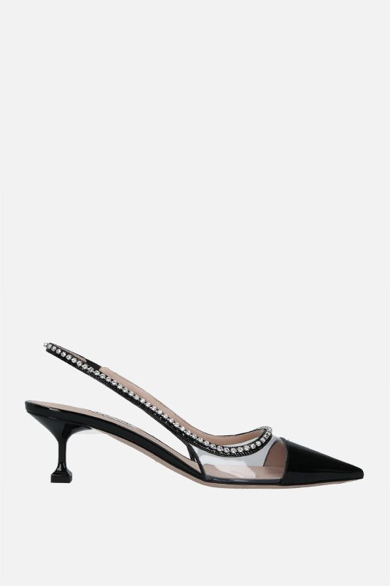 MIU MIU: crystal-detailed patent leather and PVC slingbacks Color Black_1