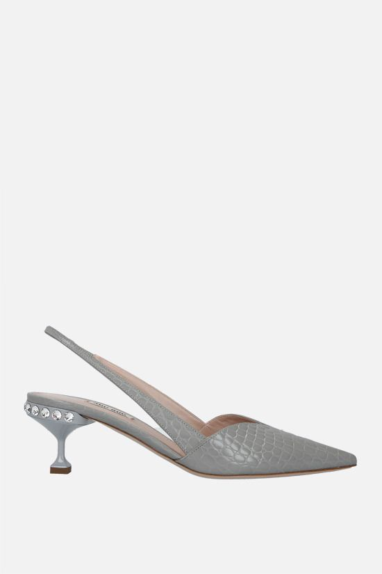 MIU MIU: crocodile-embossed leather slingbacks Color Grey_1