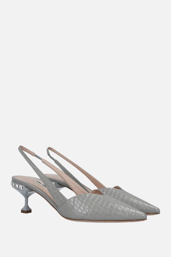 MIU MIU: crocodile-embossed leather slingbacks Color Grey_2