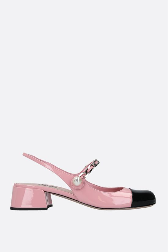 MIU MIU: chain-detailed patent leather slingbacks Color Pink_1