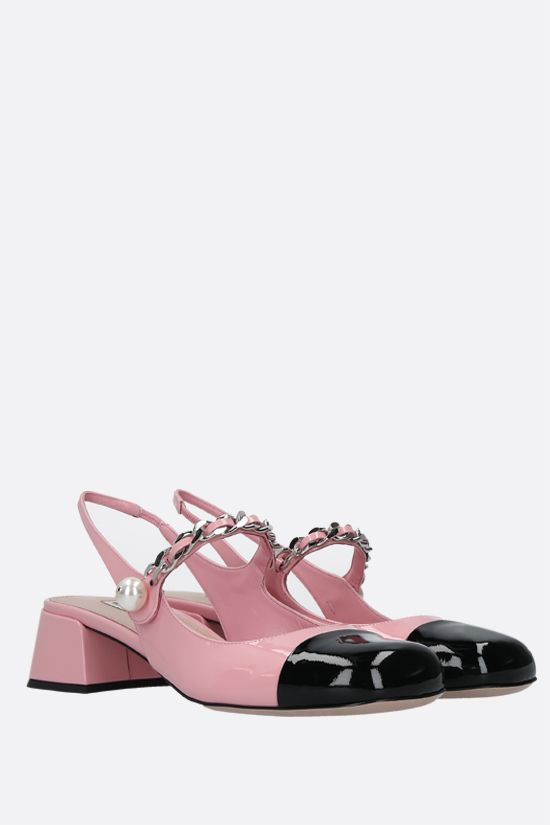 MIU MIU: chain-detailed patent leather slingbacks Color Pink_2