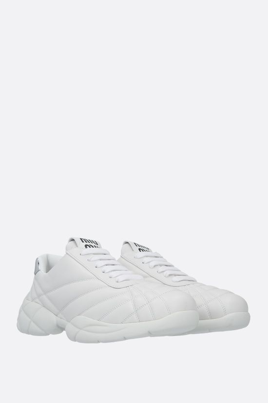 MIU MIU: quilted nappa sneakers Color White_2