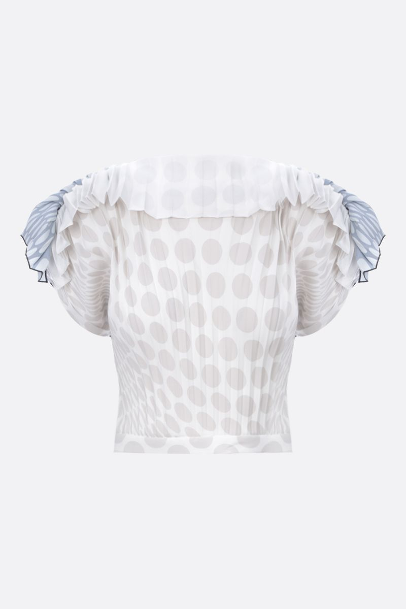 MM6: top cropped in poliestere stampa pois Colore White_1