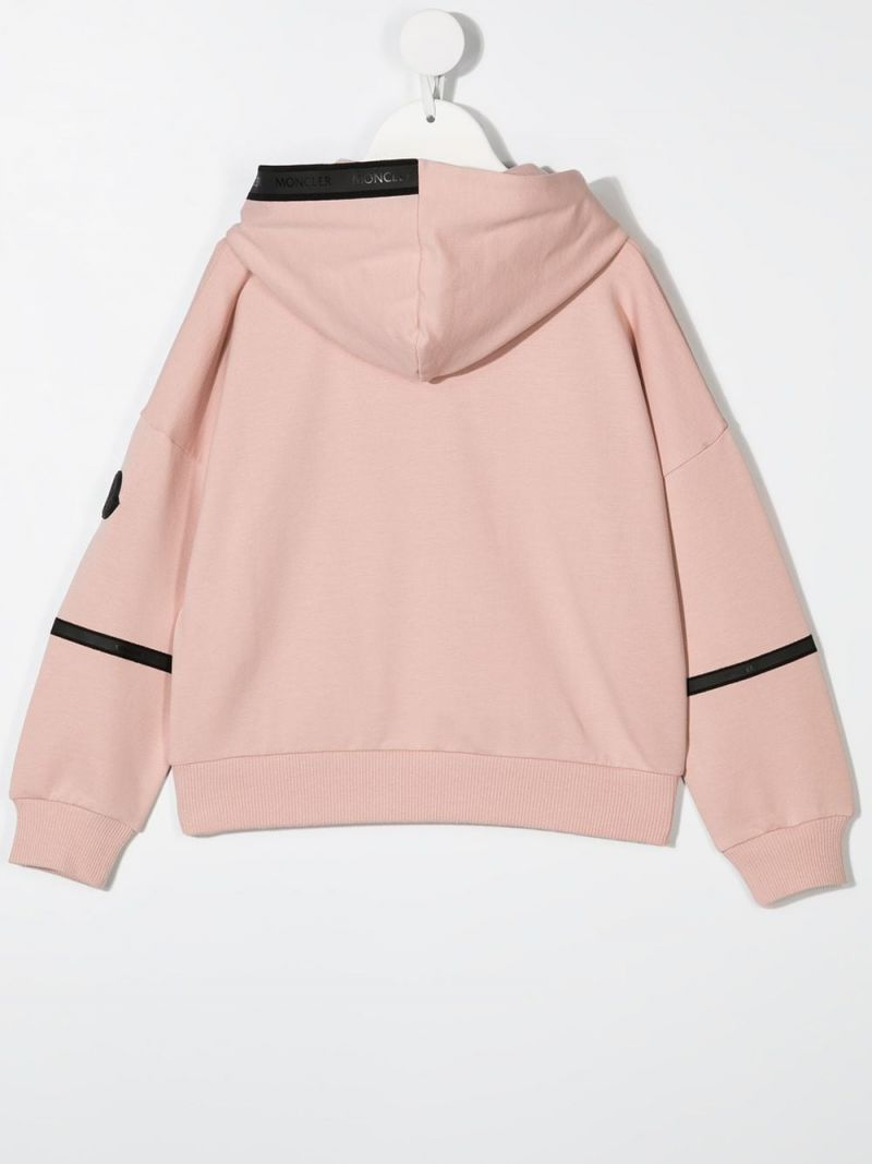 MONCLER KIDS: contrasting bands stretch cotton hoodie Color Pink_2