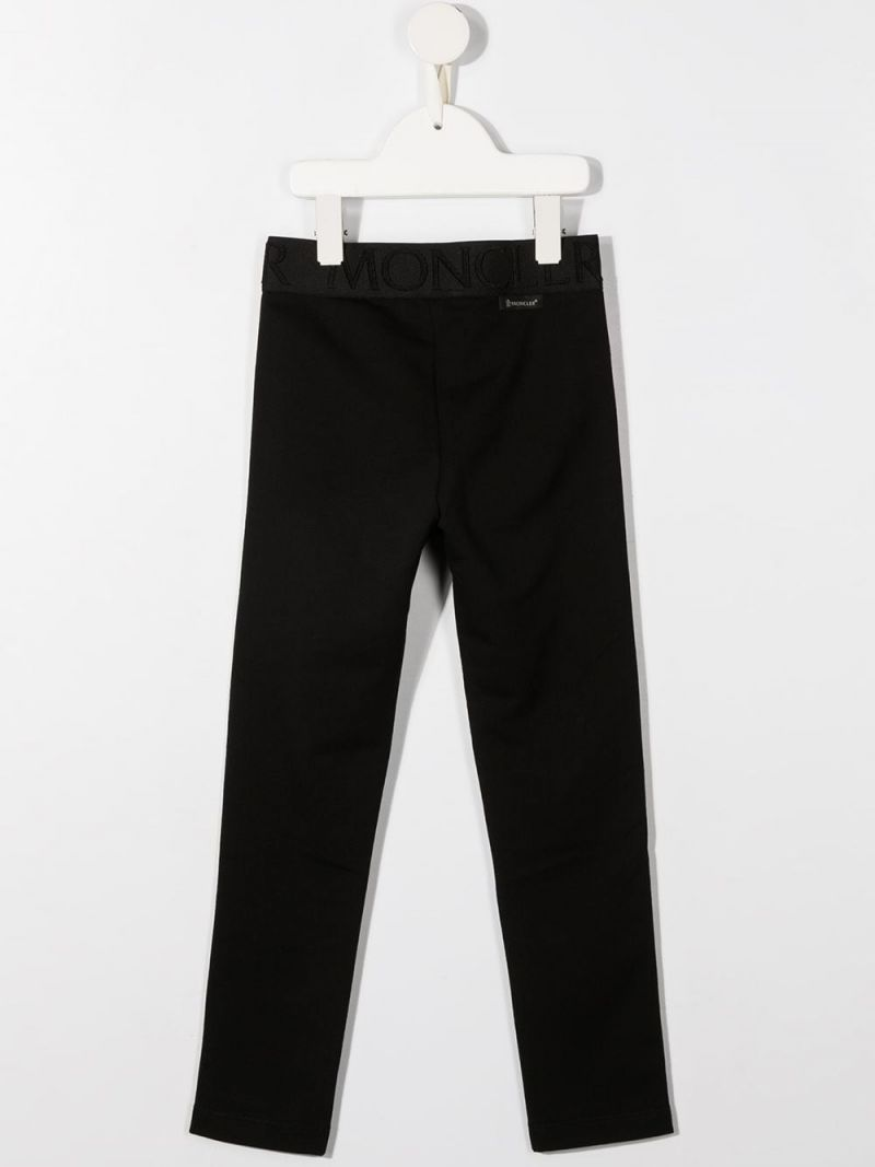 MONCLER KIDS: logo band-detailed stretch cotton leggings Color Black_2