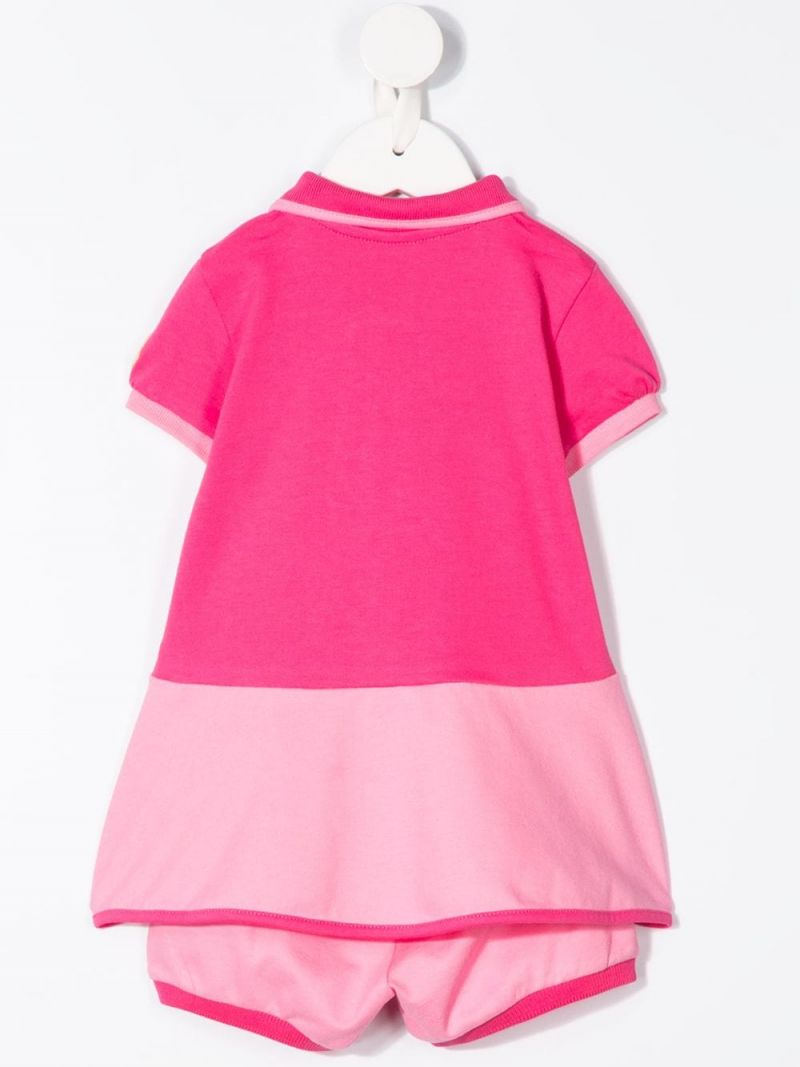 MONCLER KIDS: stretch piquet dress with bloomers Color Pink_2