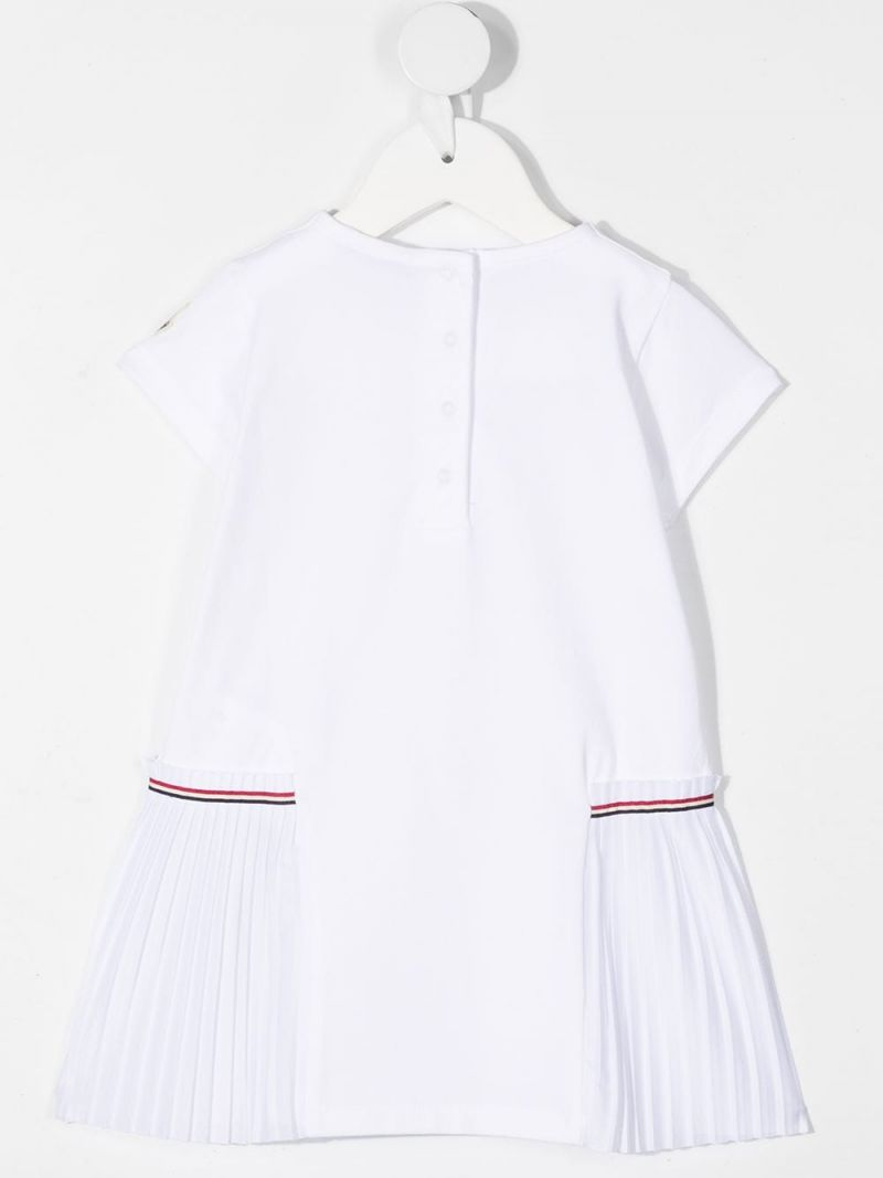 MONCLER KIDS: logo print stretch cotton dress Color White_2