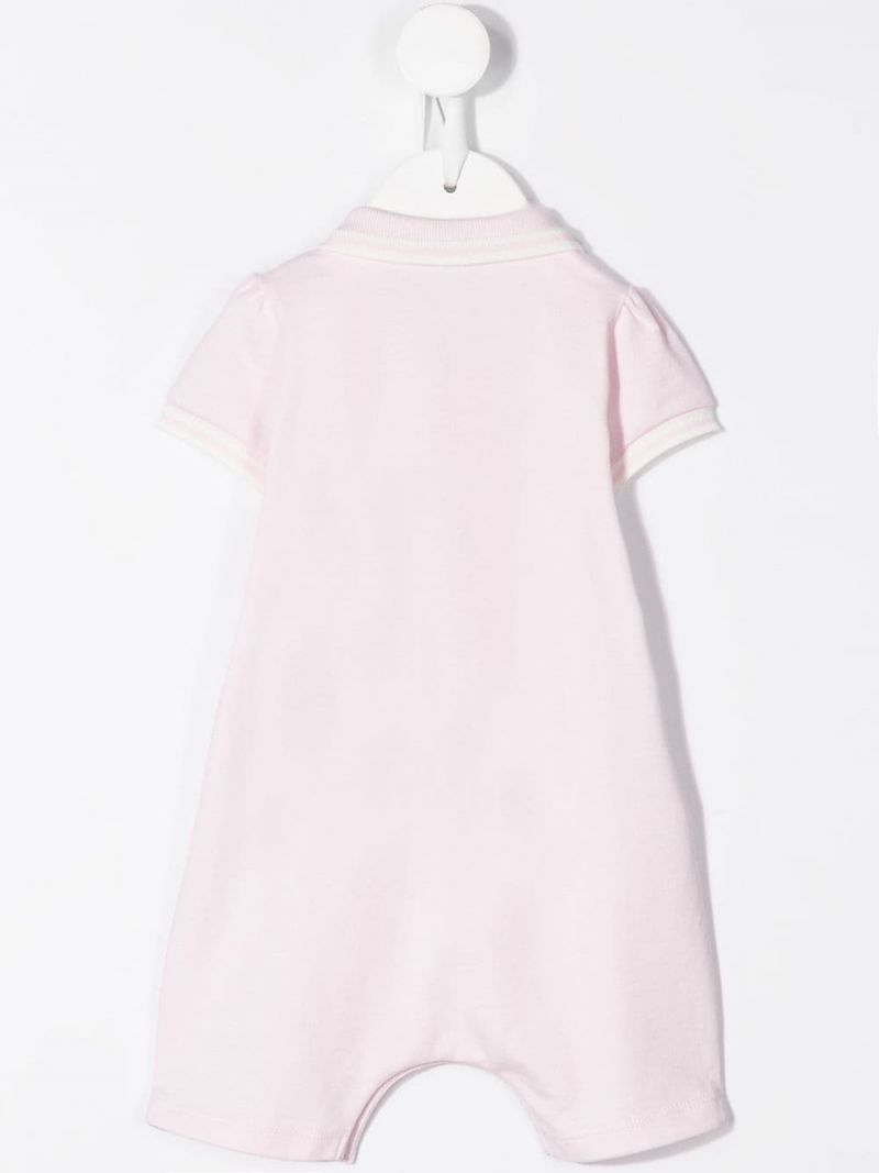 MONCLER KIDS: logo patch stretch cotton playsuit Color Pink_2