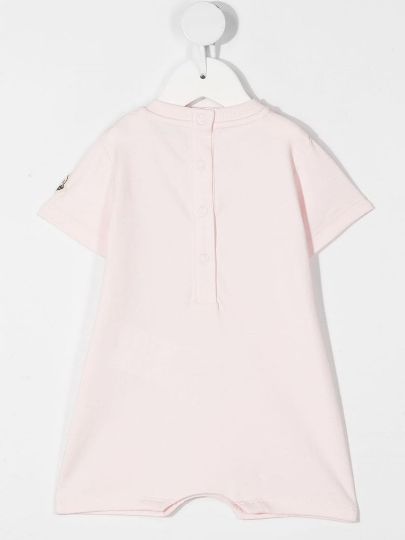 MONCLER KIDS: logo print cotton playsuit Color Pink_2