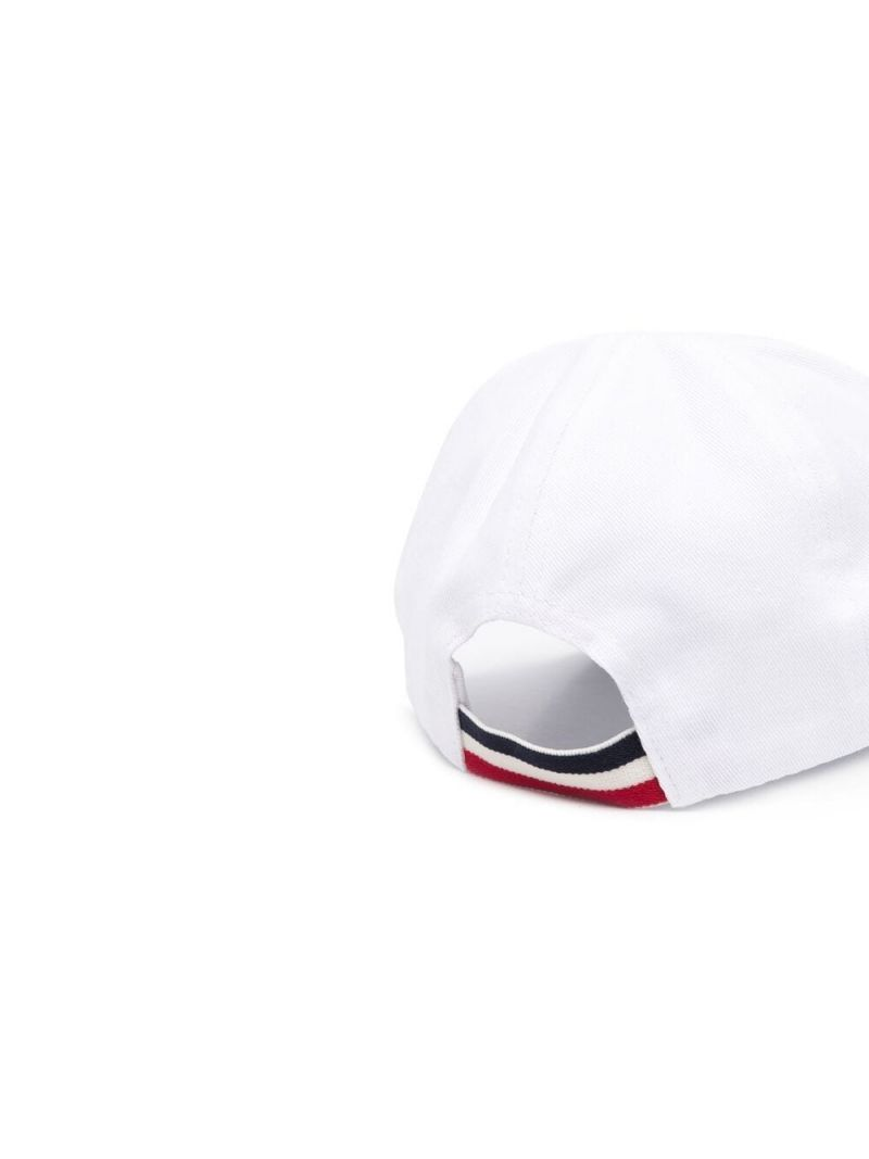 MONCLER KIDS: logo-detailed canvas baseball cap Color White_2