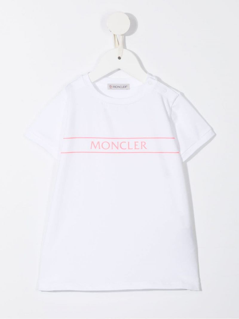 MONCLER KIDS: stretch cotton t-shirt and leggings set Color White_2