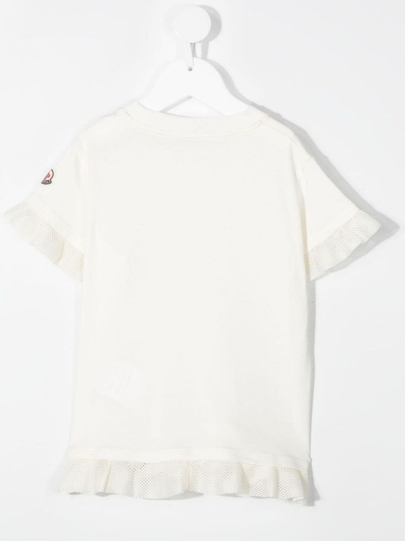 MONCLER KIDS: ruches-detailed cotton t-shirt Color White_2