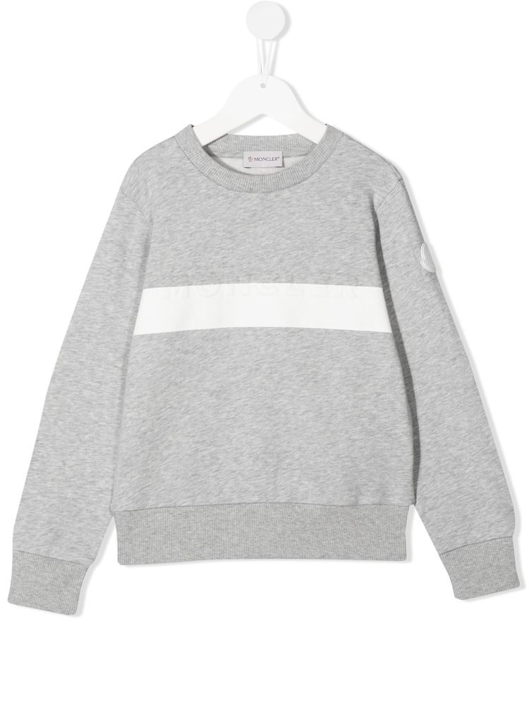 MONCLER KIDS: contrasting band cotton sweatshirt Color Grey_1