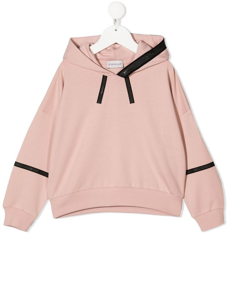MONCLER KIDS: contrasting bands stretch cotton hoodie Color Pink_1