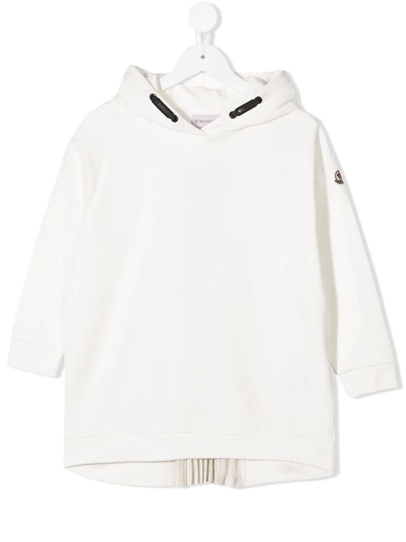 MONCLER KIDS: pleated detail cotton hoodie Color White_1