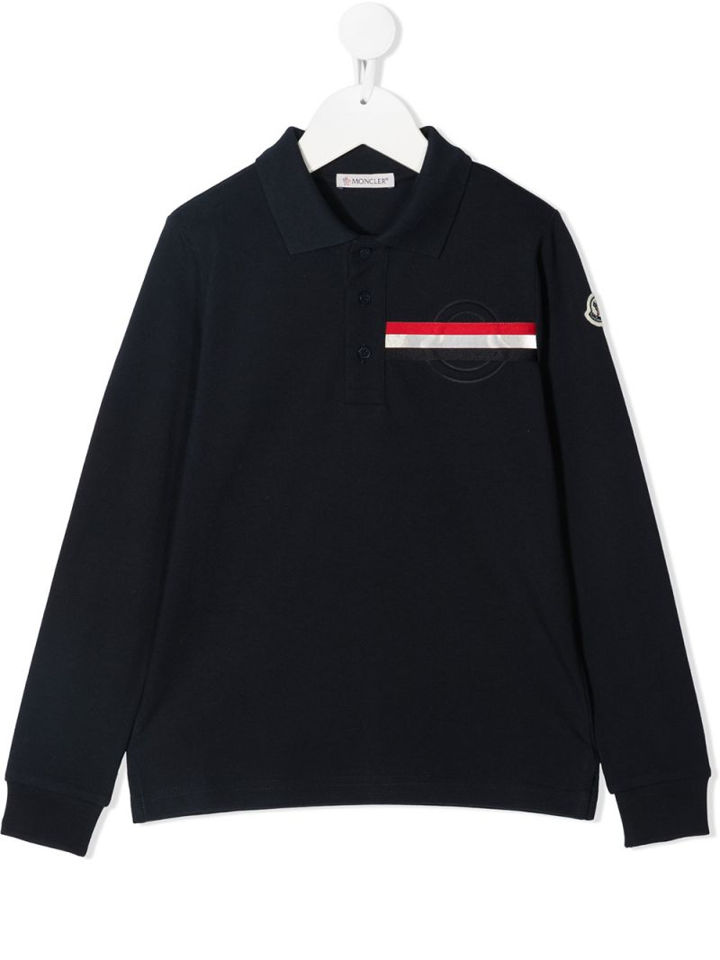 MONCLER KIDS: logo patch cotton long-sleeved polo shirt Color Blue_1