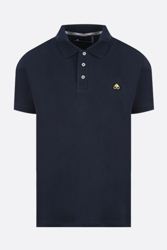 MOOSE KNUCKLES: logo patch cotton polo shirt Color Blue_1
