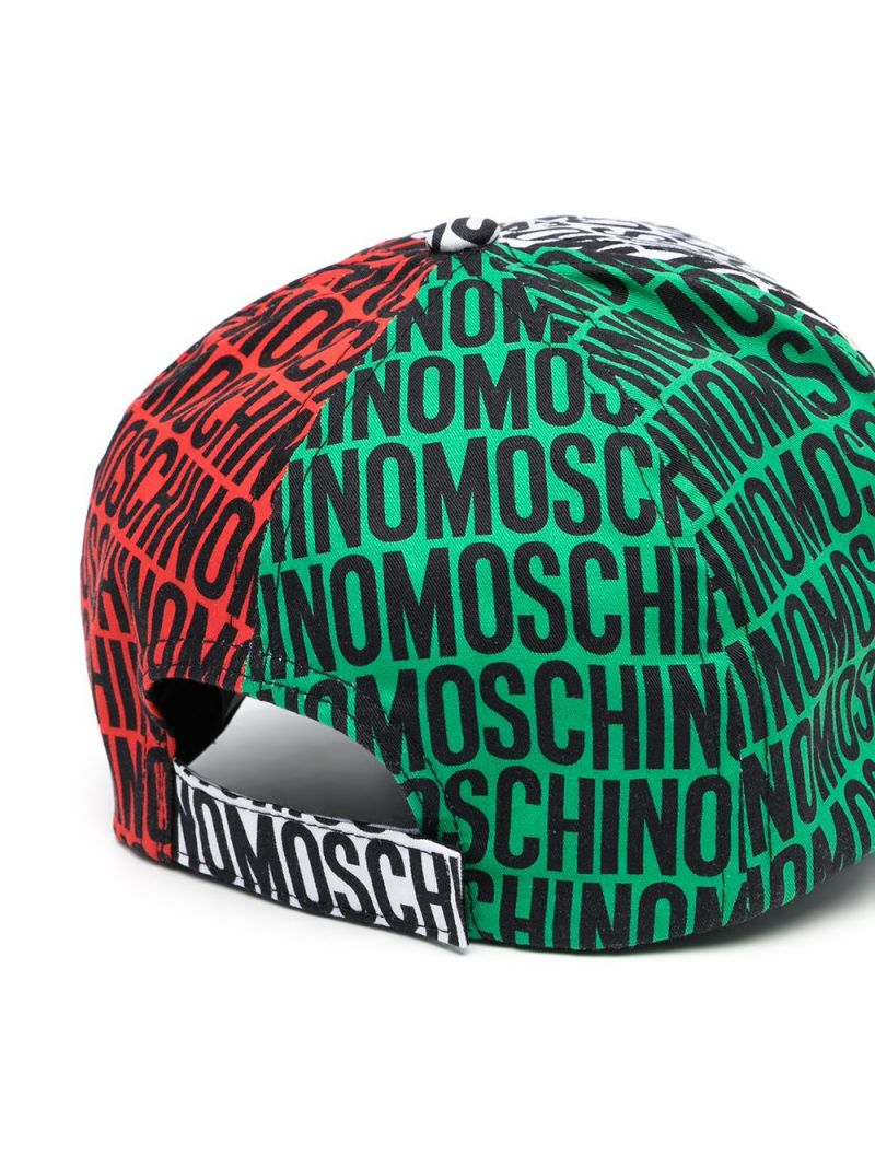 MOSCHINO KIDS: logo print cotton baseball cap Color Multicolor_2
