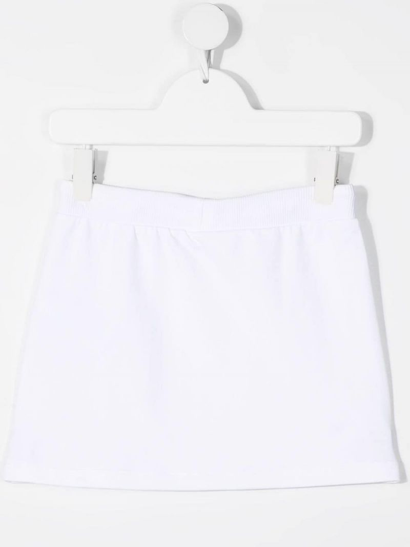MOSCHINO KIDS: Moschino print stretch cotton skirt Color White_2