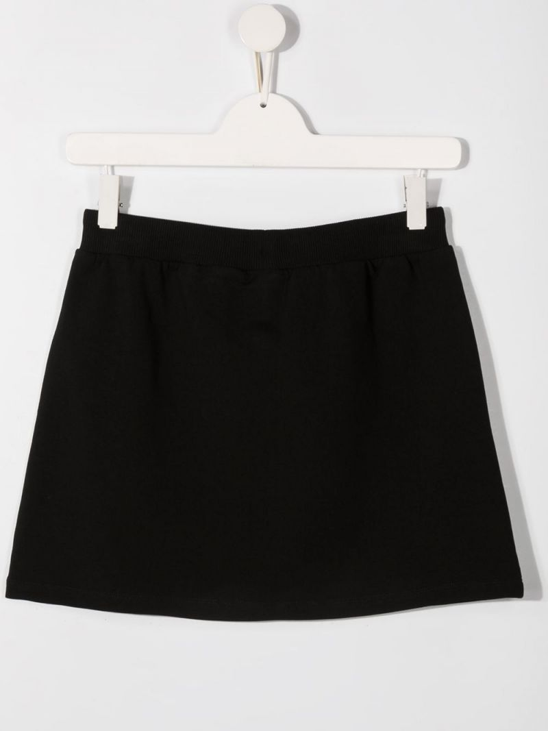 MOSCHINO KIDS: Moschino print stretch cotton skirt Color Black_2
