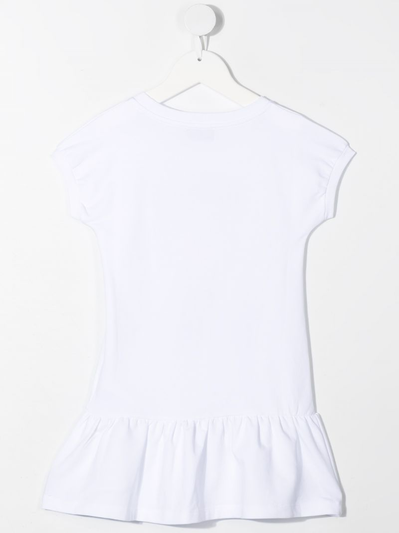 MOSCHINO KIDS: Daisy Teddy Bear cotton dress Color White_2