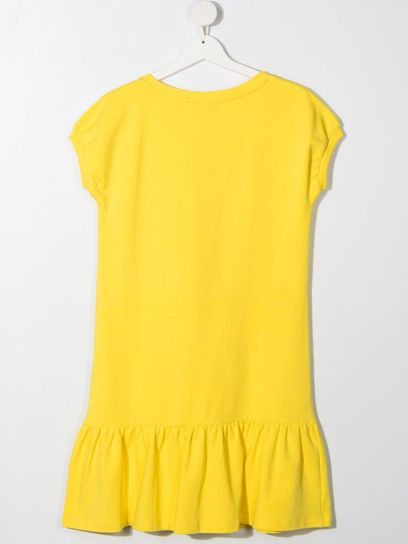 MOSCHINO KIDS: Daisy Teddy Bear cotton dress Color Yellow_2